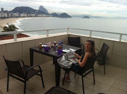 Breakfast on the very high terrace overlooking Copacabana Beach.